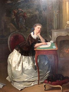 ALEXANDER JEAN COUDER FRENCH (1808-1879) OIL PAINTING ON BOARD LADY IN A PARLOUR