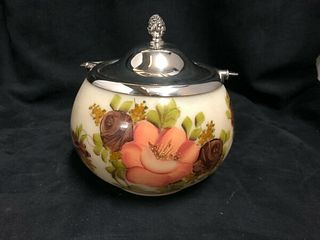 HAND PAINTED GLASS COOKIE JAR WITH ROGERS CANADIAN SILVER PLATED TOP