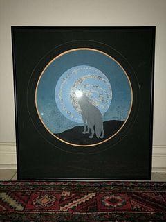 "SILKSCREEN ""HOWL AT THE MOON"" BY PAMELA HOLLOWAY CANADIAN ABORIGINAL ARTIST"