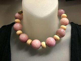 Masha Archer Choker Lilac colored Jade Beads and Cream colored Rondelles