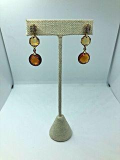 Pretty Pair of Citrine-18k Gold and Diamond Dangle earrings