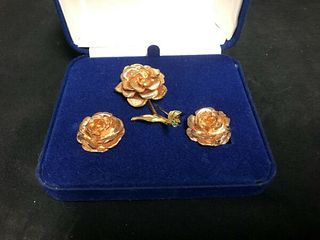VINTAGE CAMROSE AND KROSS FASHION JEWELLERY ROSE PIN AND CLIP EARRINGS