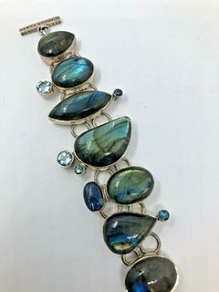 A Labradorite and Kynite semi precious stone and Sterling silver Bracelet