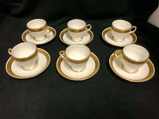 SET OF 6 MINTONS ENGLAND HAND PAINTED WHITE AND GOLD DEMI TASSE AND SAUCERS