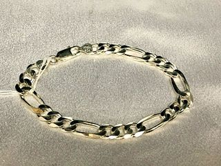 "Sterling Silver (925) chain link Bracelet 8.5"""