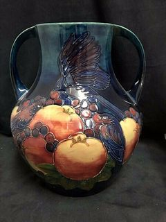 LARGE MOORCROFT FINCHES PATTERN DOUBLE HANDLE VASE INITIALED WM C.1991