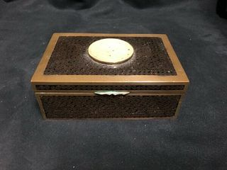 VINTAGE CHINESE BROWN CLOISONNÌä BOX WITH JADE INSET