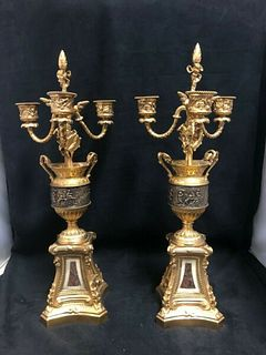 A GOOD PAIR OF 19TH CENTURY FRENCH GILT BRONZE CANDELABRA WITH CHERUBS - AD