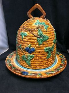 LARGE VINTAGE -ENGLISH MINTON STYLE REPRODUCTION MAJOLICA BEE HIVE CHEESE DOME