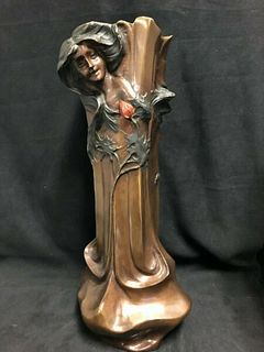 SIGNED ART NOUVEAU BRONZE VASE WITH PRETTY MAIDEN AND FLOWER DESIGN C.1900