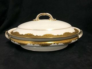 BEAUTIFUL MINTON HAND PAINTED GOLD AND WHITE COVERED VEGETABLE DISH