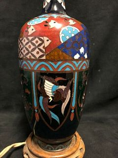 COLORFUL ANTIQUE MEIJI JAPANESE CLOISONNÉ LAMP