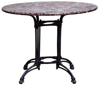 Marble Top and Cast Iron Table