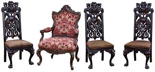 Baroque Style Upholstered Chair Assortment