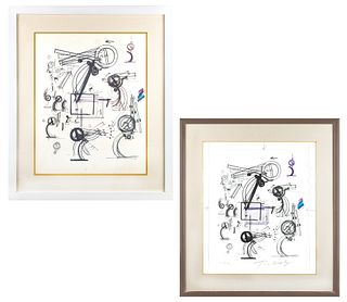 A PAIR OF WORKS ON PAPER BY JEAN TINGUELY (SWISS 1925-1991)