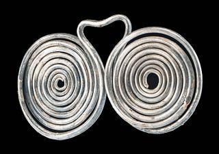 Greek Thracian Silver Spectacle Fibula - 39.3 g
