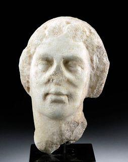 Greek Hellenistic Marble Head of Woman