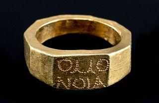 Greek 20K+ Gold Ring w/ Marriage Inscription, 11.1 g
