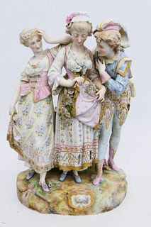 LARGE 19th C CONTINENTAL POLYCHROME BISQUE GROUP