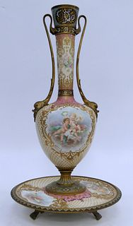 HUGE SEVRES STYLE HAND PAINTED VASE AND TRAY