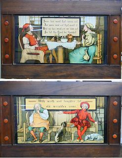 TWO TURN OF THE CENTURY WHIMSICAL PRINTS FOLKART