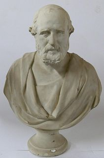 LARGE WHITE CERAMIC BUST OF GIUSEPPE GARIBALDI