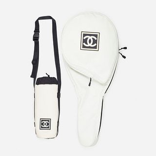 Chanel, tennis racket cover and water bottle holder
