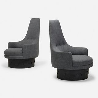 Adrian Pearsall, swivel lounge chairs, pair