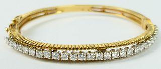 ESTATE DIAMOND & 14KT YELLOW GOLD BRACELET 1 1/2CT