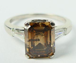 FABULOUS 3.46 FANCY BROWN DIAMOND PLATINUM RING