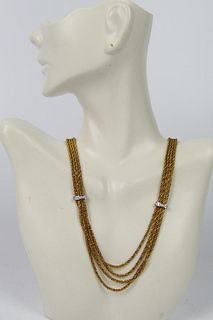 TIFFANY ESTATE 18KT GOLD AND DIAMOND NECKLACE