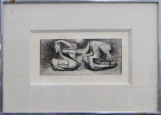 HENRY MOORE (UK 1831-1895) ABSTRACT ETCHING
