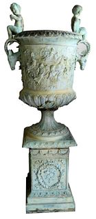 HUGE BRONZE OUTDOOR LAWN URN WITH PUTTI