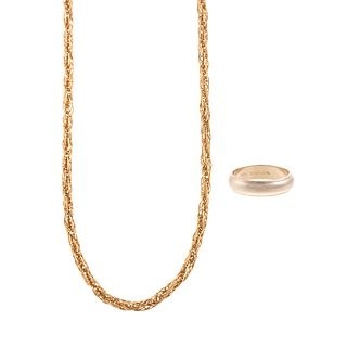 A 14K Gent's Wedding Band & Woven Chain Necklace