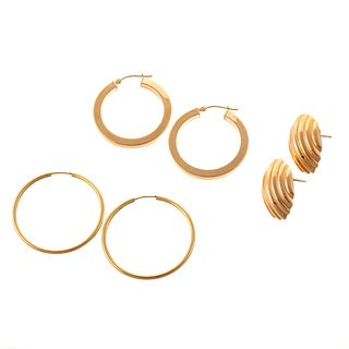 A Trio of 14K Yellow Gold Earrings