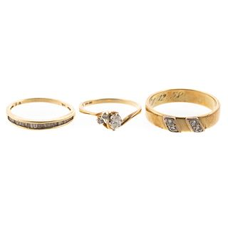 A Trio of Diamond Rings in 14K Yellow Gold