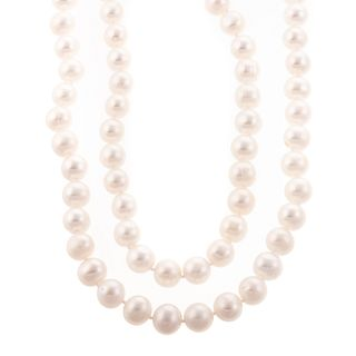 A Pair of 11-12 mm Cultured Pearl Necklaces