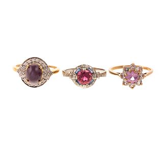 An 18K Pink Star Sapphire Ring & Other Rings