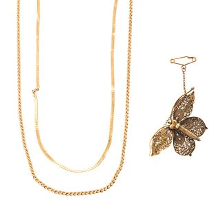 A Butterfly Brooch & Two Gold Chains in 14K
