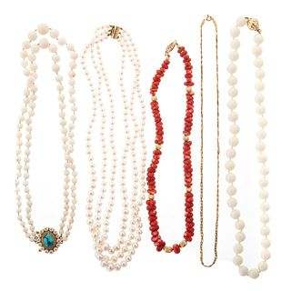 Collection of Coral & Pearl Necklaces