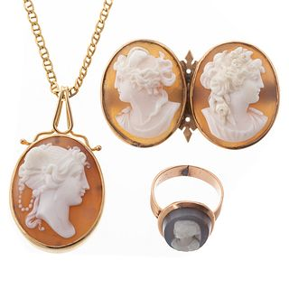 A Collection of Cameo Jewelry