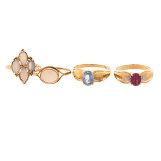 Four Gemstone Rings in 14K Yellow Gold
