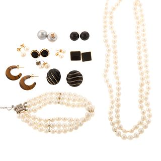 Various Pearl & Onyx Jewelry in 14K