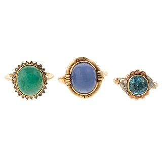 A Collection of Three Gold Gemstone Rings