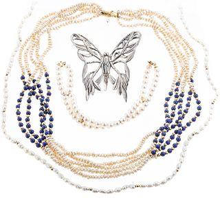 A John Hardy Butterfly Pin & Pearl Jewelry in 14K