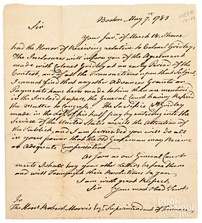 John Hancock unsigned letter to Robert Morris