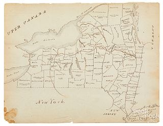 Early lead and colored pencil map of New York