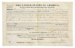 John Tyler vellum document signed as president