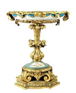 19th C. French Sevres Bronze Porcelain Centerpiece