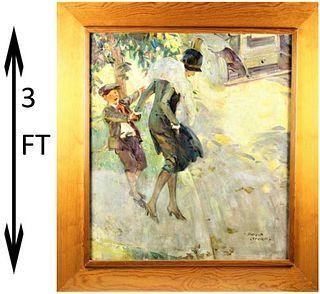 "Philip Lyford (1887 - 1950) ""Stubborn Child"" O/C"